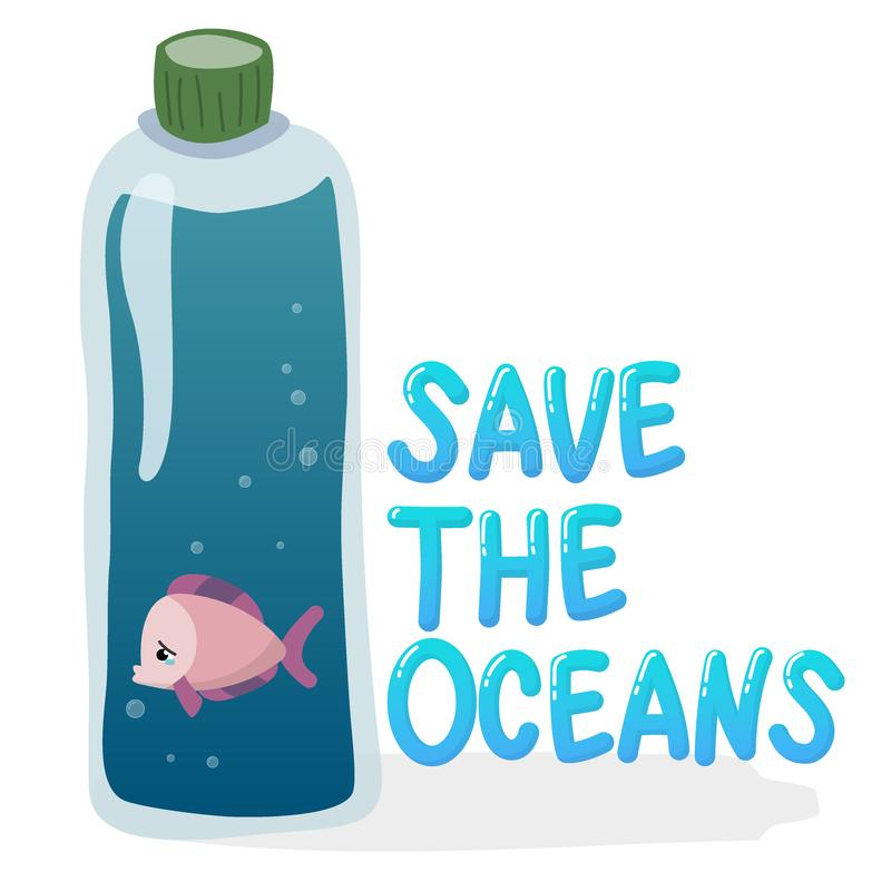 Plastikowy zanieczyszczenie w oceanu problemu związany z ochroną środowiska pojęciu biednej ryby pływanie wśrodku plastikowej but ilustracji