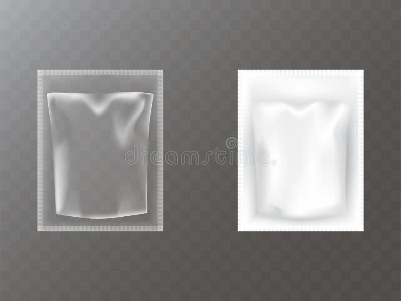 Plastikowych paczek realistyczny wektor ilustracja wektor