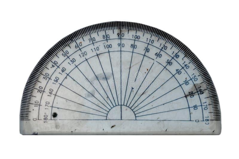 Plastikregel Winkelmessermachthaber auf weißem Hintergrund Winkelmesser t stockfoto