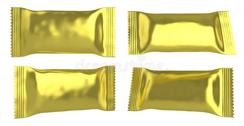 Plastiktasche der leeren goldenen Folie für kleines Lebensmittel lizenzfreie abbildung