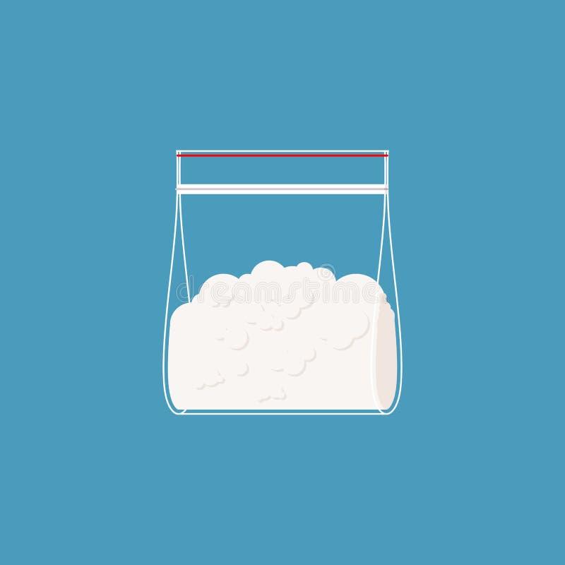 Plastiktasche des Kokains lokalisiert Drogen im Kissen Vektor stock abbildung