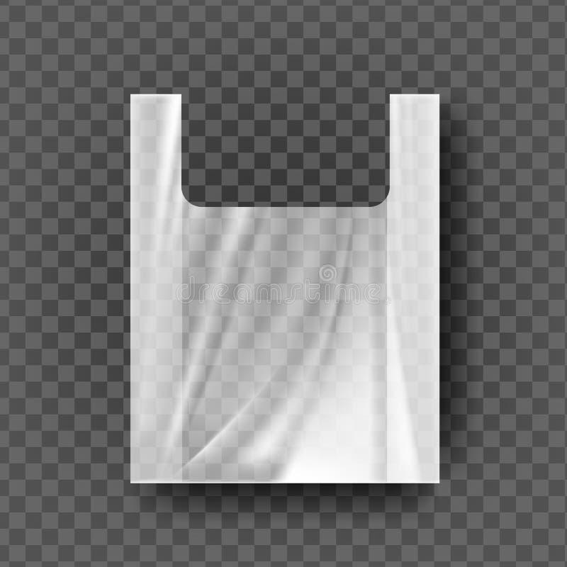 Plastiktasche mit Griff-Vektor Transparenter Fördermaschinen-Griff geknitterte Verpackung Carry Empty Product Polyethylene Mock o stock abbildung