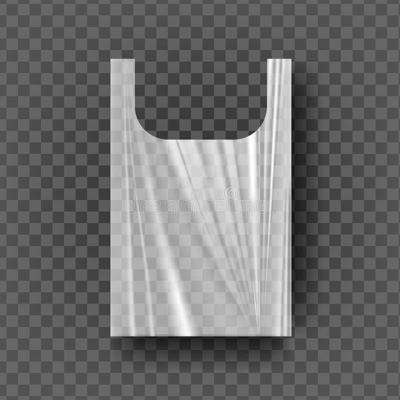 Plastiktasche mit Griff-Vektor Transparenter Fördermaschinen-Griff geknitterte Verpackung Carry Empty Product Polyethylene Mock o lizenzfreie abbildung