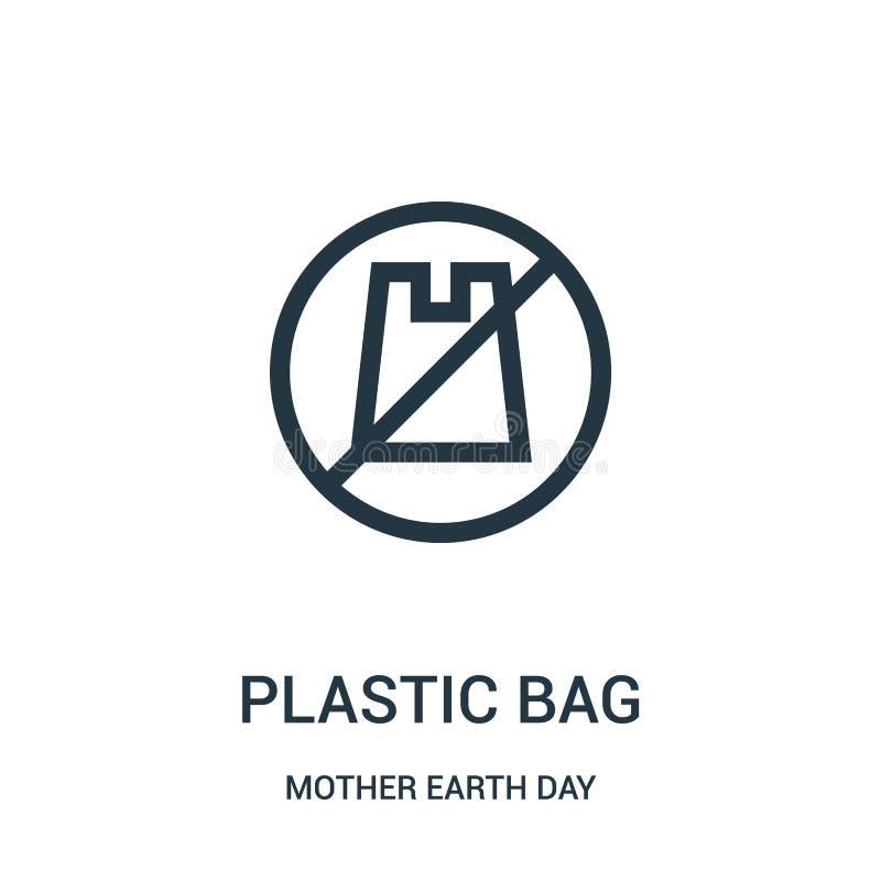 Plastiktascheikonenvektor von der Mutter Erden-Tagessammlung Dünne Linie Plastiktascheentwurfsikonen-Vektorillustration stock abbildung