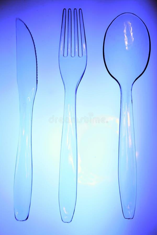 Plastiktischbesteck stockbilder