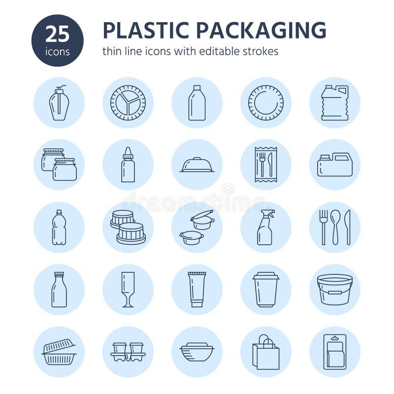 Plastikverpackung, Einweggeschirrlinie Ikonen Produktbehälter, Flasche, Paket, Kanister, Platte und Tischbesteck lizenzfreie abbildung