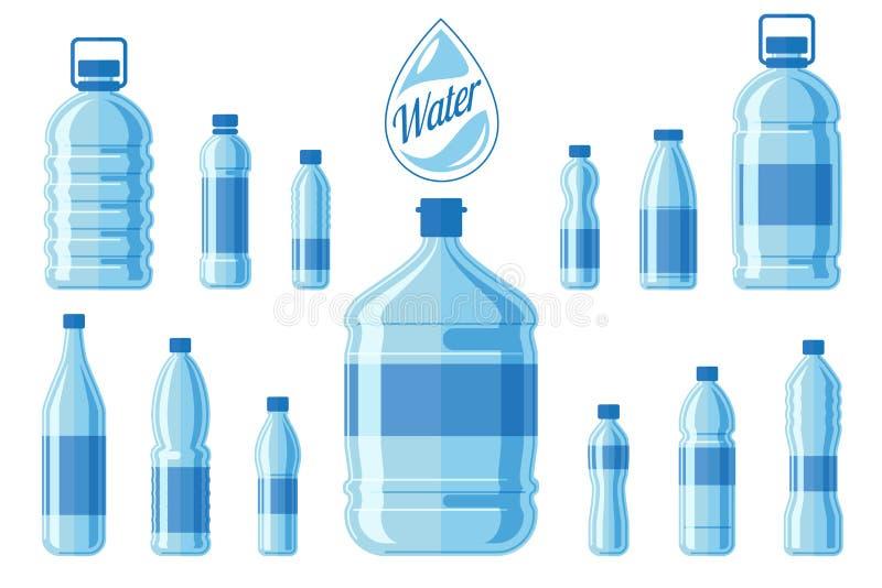 Plastikwasserflaschensatz lokalisiert auf weißem Hintergrund Gesunder Agua füllt Vektorillustration ab