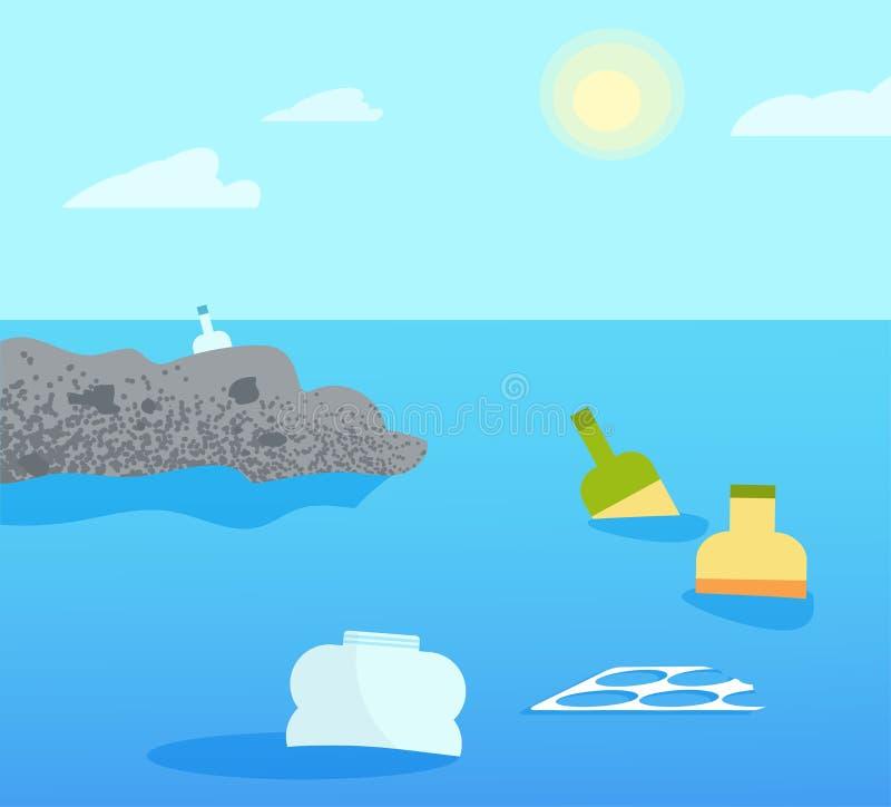 Plastique de pollution d'océan Bleu plat d'île de déchets illustration de vecteur