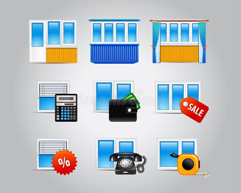 Plastique-fenêtre-icônes illustration stock