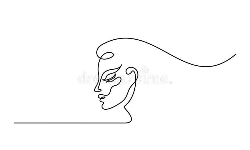 Plastische chirurgie van de lijnpictogram van het vrouwengezicht vector illustratie