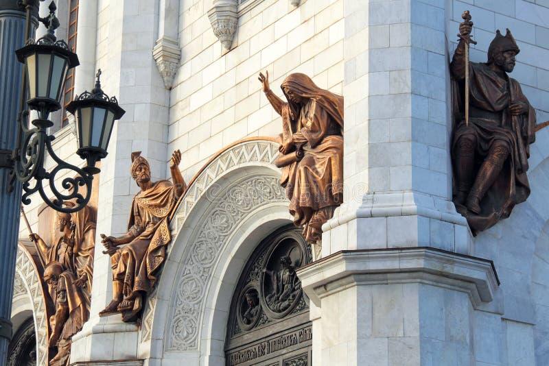 Plastische samenstelling van de zuidelijke voorgevel in de Kathedraal van Christus de Verlosser in Moskou, Ru royalty-vrije stock afbeelding