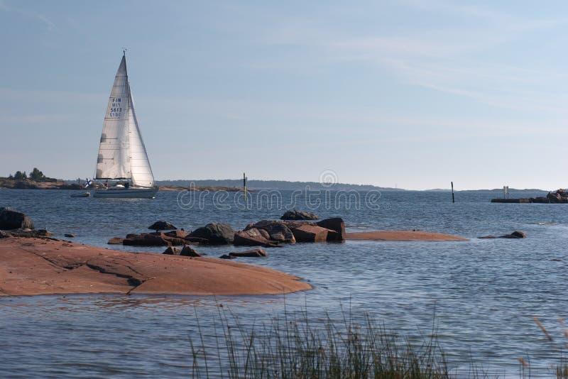 Plasure yacht entering to Hanko harbour royalty free stock photos