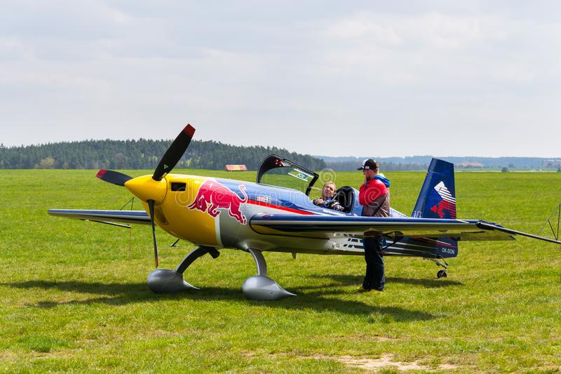 Red Bull Air Race pilot Martin Sonka in his aerobatic plane royalty free stock photography