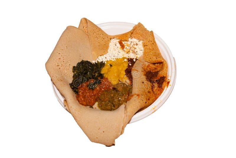Plat éthiopien : Injera photographie stock libre de droits