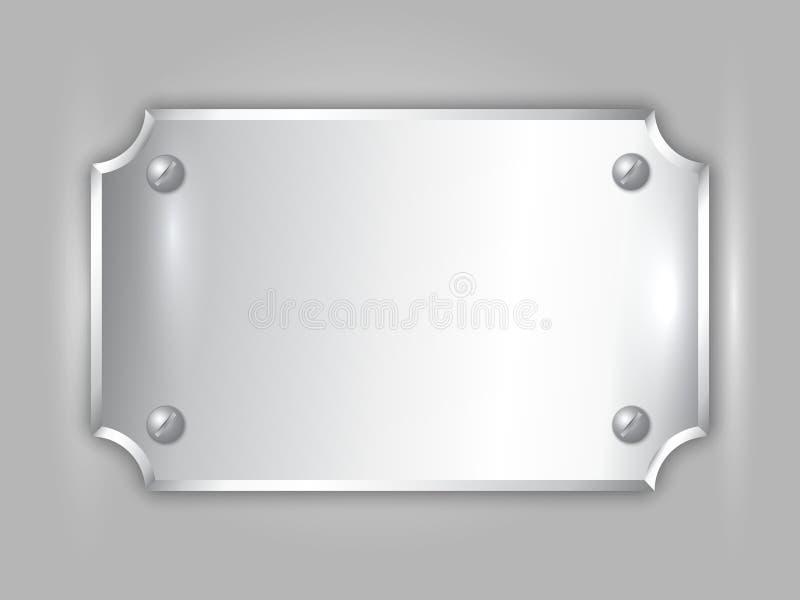 Plat abstrait de récompense d'argent de métal précieux de vecteur illustration stock