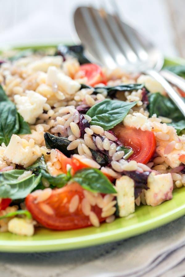 Plat avec de la salade de l'orzo, du basilic et des tomates de pâtes image libre de droits