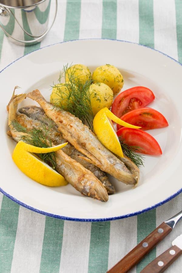 Plat avec des sardines frites, des pommes vapeur, le citron et des tomates fraîches sur le fond de textile image stock