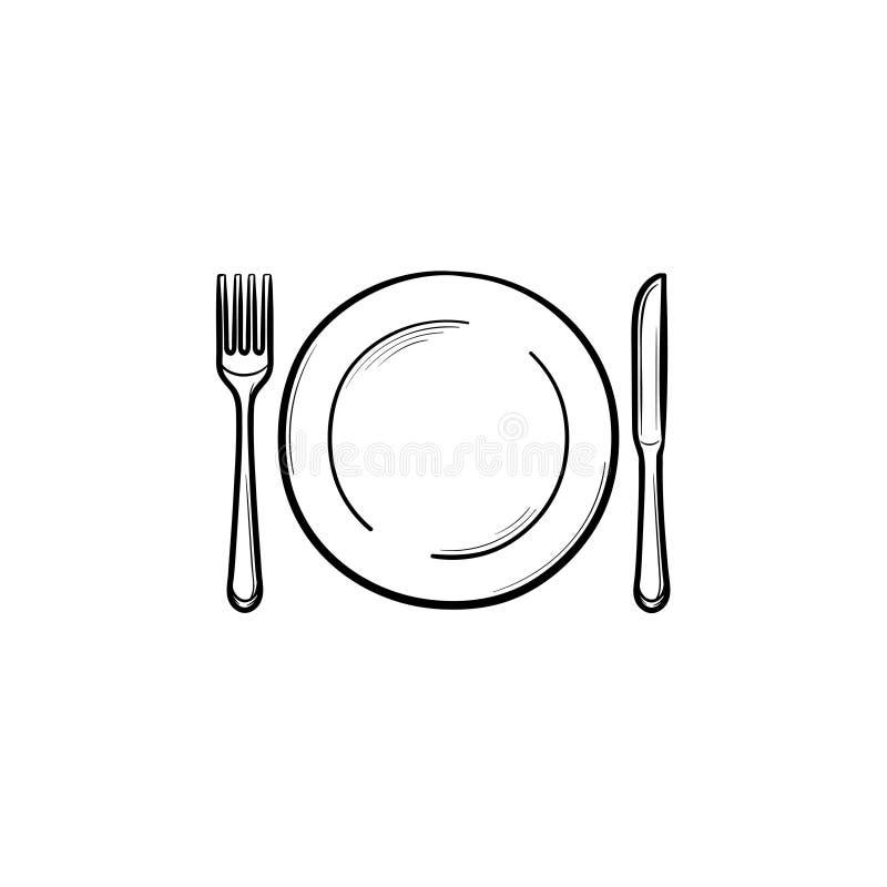 Plat avec l'icône tirée par la main de croquis de fourchette et de couteau illustration libre de droits