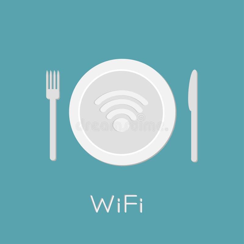 Plat avec l'icône de wifi de réseau sans fil à l'intérieur. Couteau et fourchette. illustration libre de droits