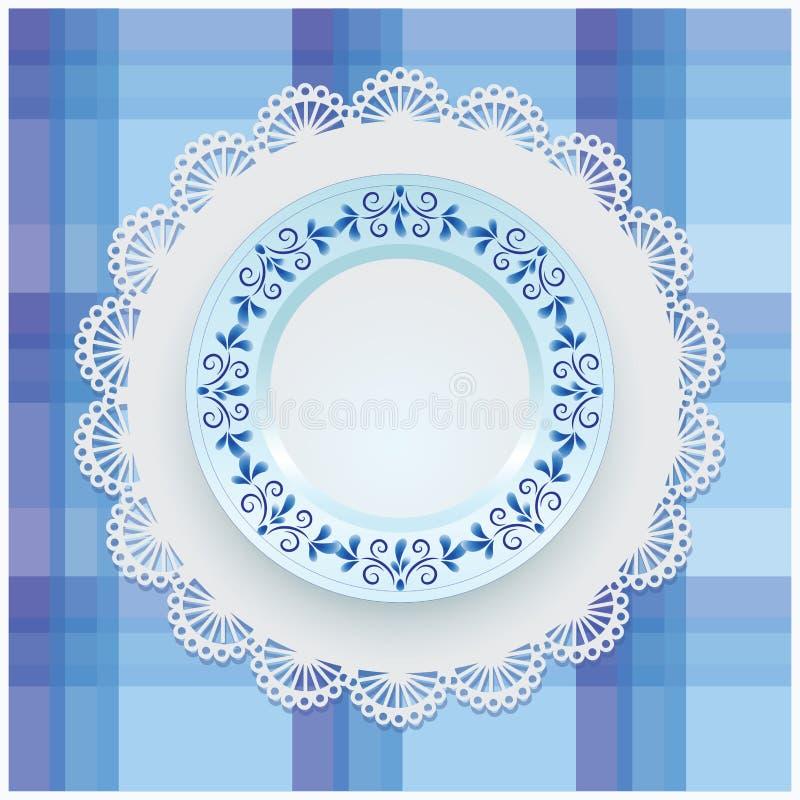Plat avec l'ornement bleu illustration de vecteur