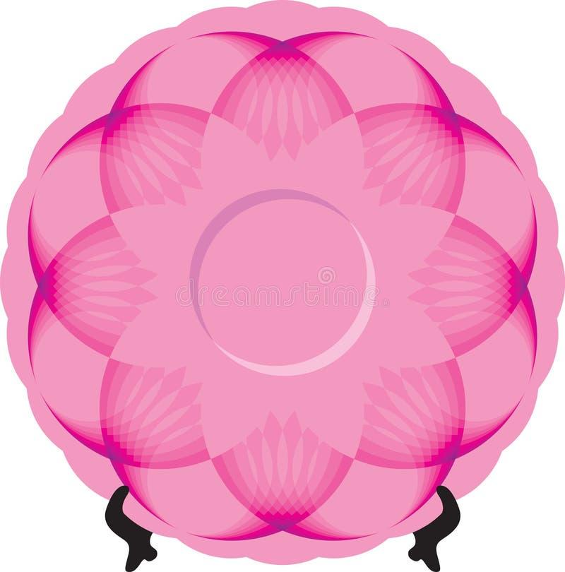 Plat avec l'ornement rose sur le support image stock