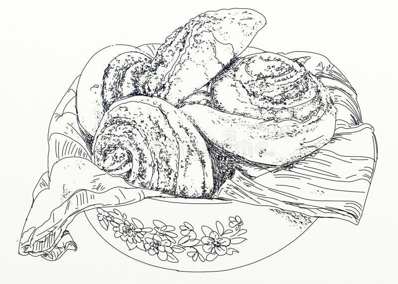 Plat avec la brioche, pour le petit déjeuner illustration stock