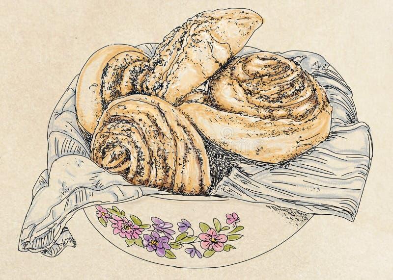 Plat avec la brioche, pour le petit déjeuner illustration de vecteur