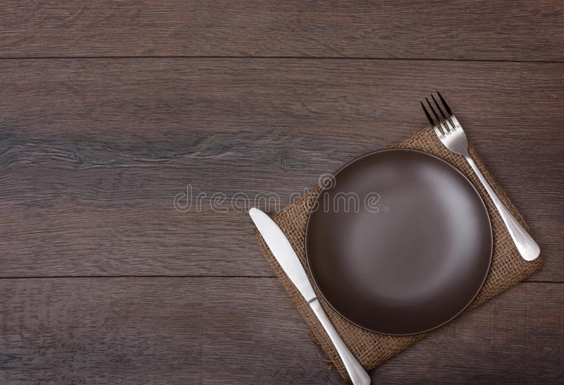 Plat avec la fourchette et le couteau photos libres de droits