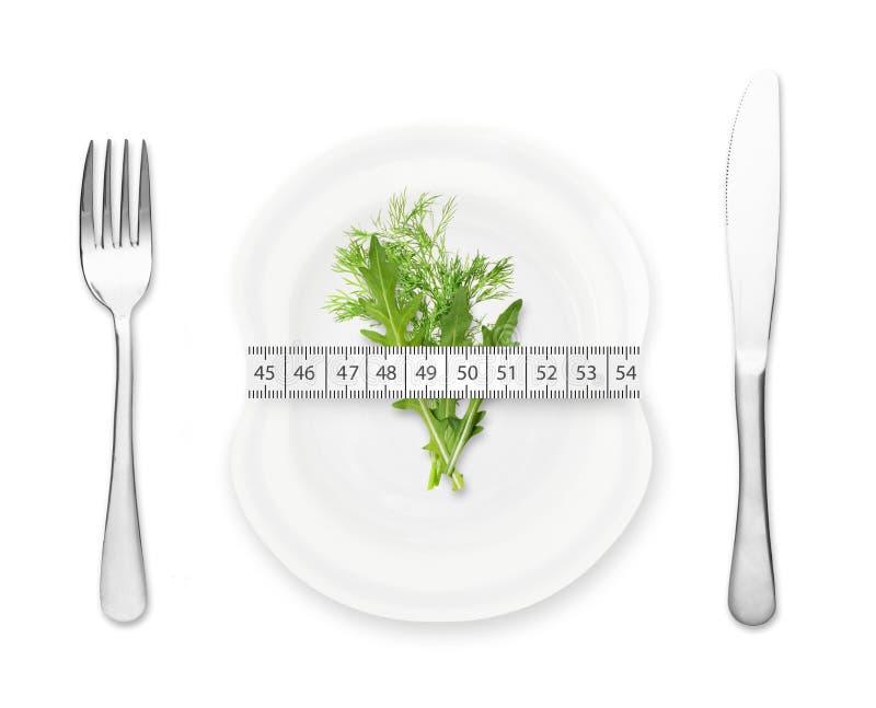 Plat avec la mesure, la fourchette et le couteau images stock