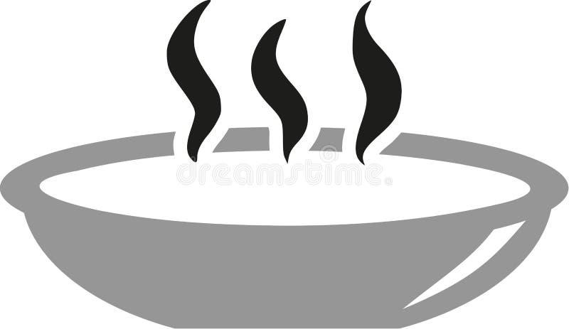Plat avec la soupe chaude illustration stock