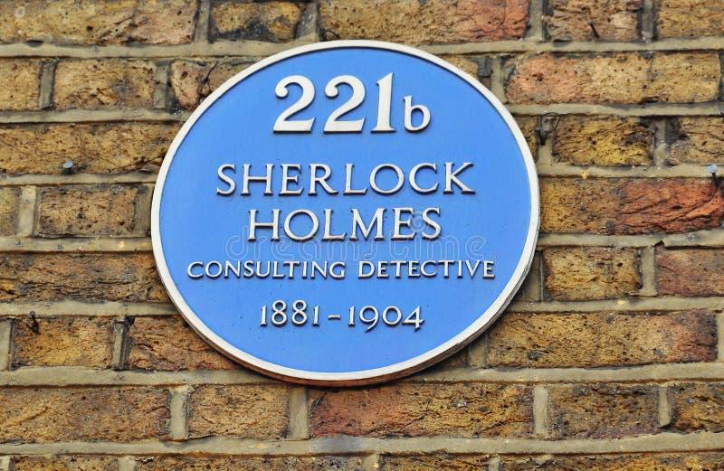 Plat avec le nom de Sherlock Holmes sur la rue 221b, Londres, R-U de Baker images stock