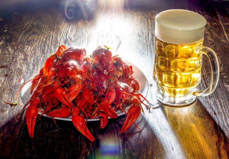 Plat avec les écrevisses bouillies et un verre de bière images stock