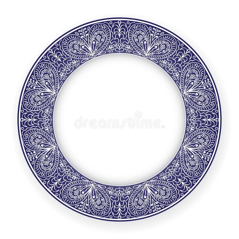 Plat blanc avec l'ornement bleu illustration de vecteur