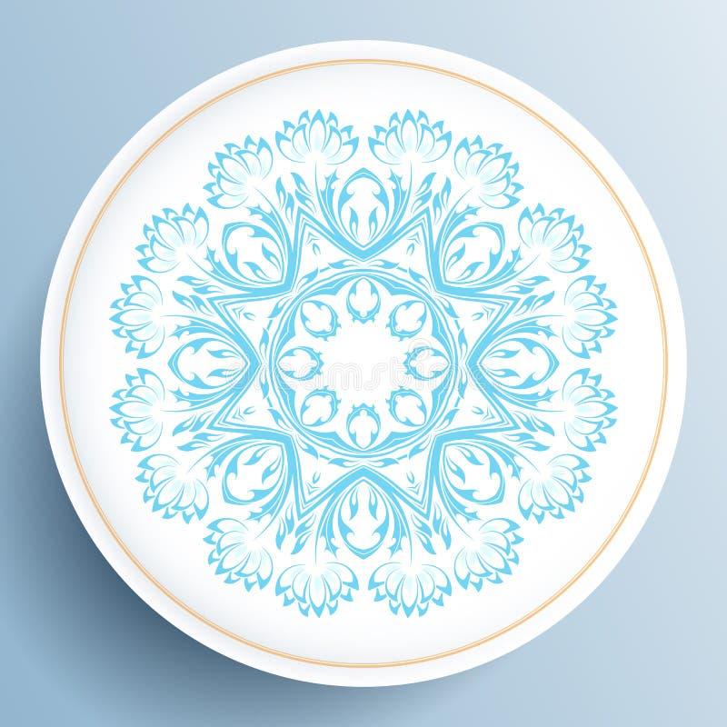 Plat blanc avec l'ornement floral bleu illustration libre de droits
