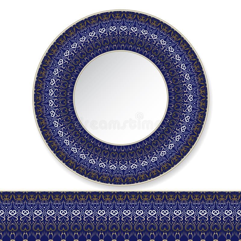 Plat bleu avec le modèle d'or illustration stock