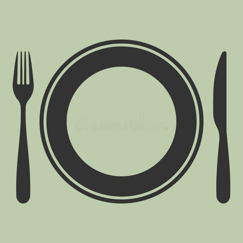 Plat, couteau et fourchette illustration stock