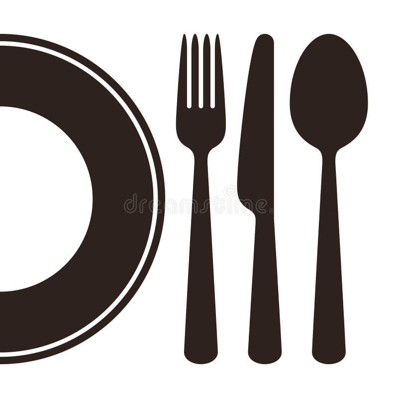 Plat, couteau, fourchette et cuillère illustration libre de droits