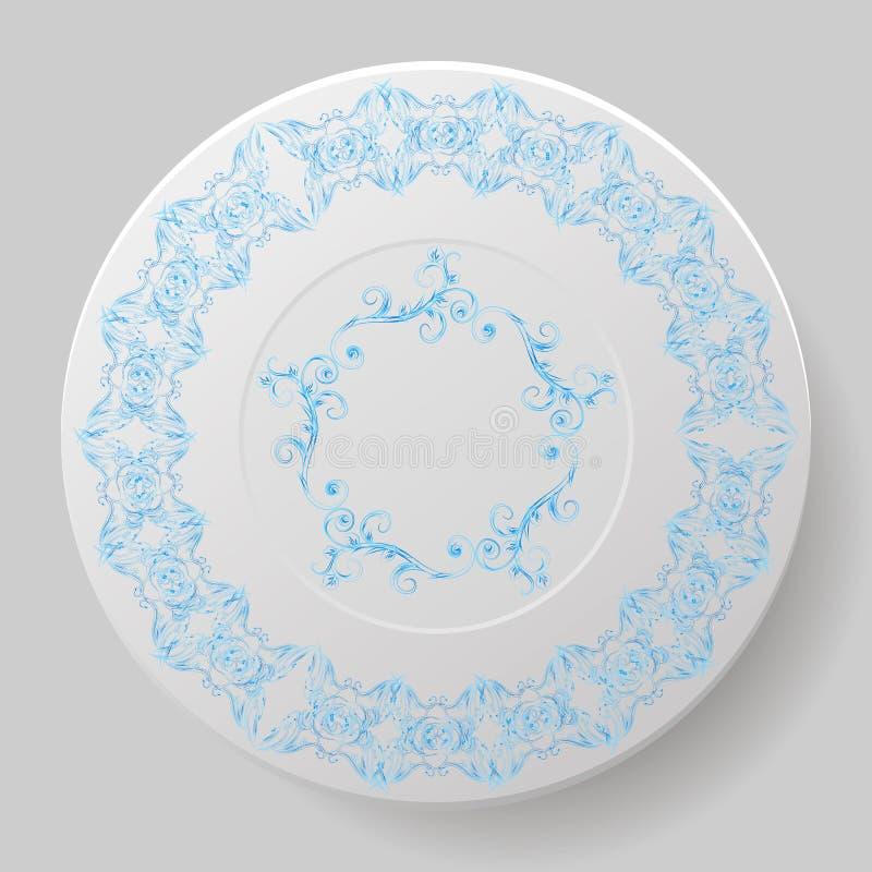 Plat décoratif avec le modèle bleu, ornement illustration stock