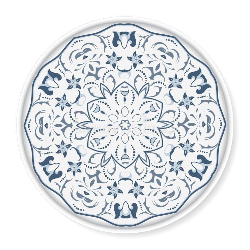 Plat décoratif avec le modèle circulaire bleu illustration de vecteur