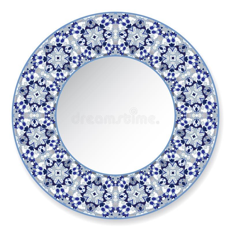 Plat décoratif bleu avec le modèle illustration stock
