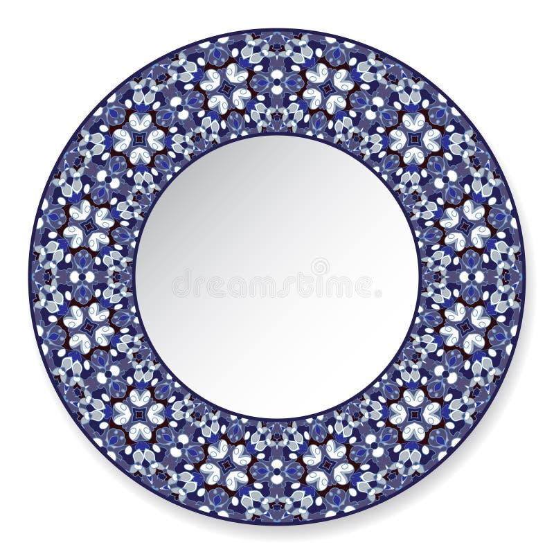 Plat décoratif bleu-foncé avec le modèle illustration stock
