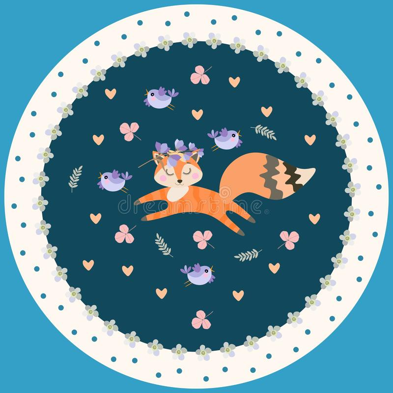 Plat décoratif pour des enfants Petit animal gai de renard, petits oiseaux, coeurs et feuilles sur le fond foncé dans le vecteu illustration libre de droits