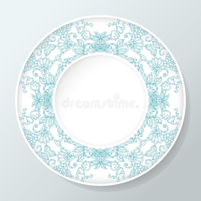 Plat décoratif rond avec la ligne bleue ornement floral Illustration de vecteur illustration libre de droits
