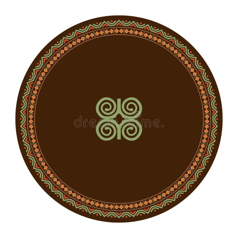 Plat d?coratif avec l'ornement rond dans le style tribal ethnique de symboles Illustration de vecteur illustration libre de droits