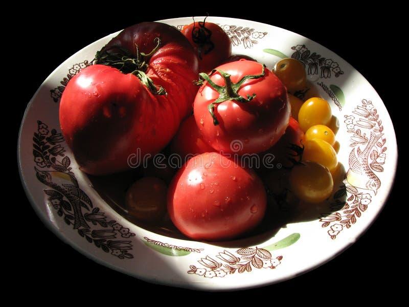 Plat d'isolement avec les tomates rouges et jaunes faites maison mûres sur un bl image stock