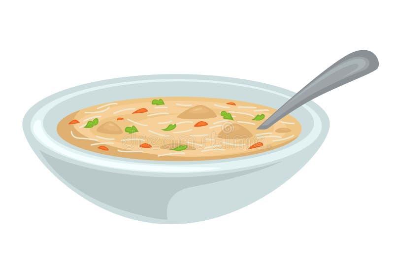 Plat d'isolement par soupe de volaille de bouillon ou de bouillon de poulet illustration libre de droits