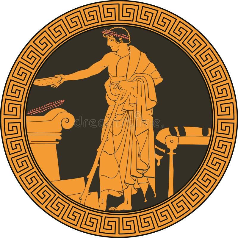 Plat dans le style grec du plat Illustration de vecteur illustration libre de droits