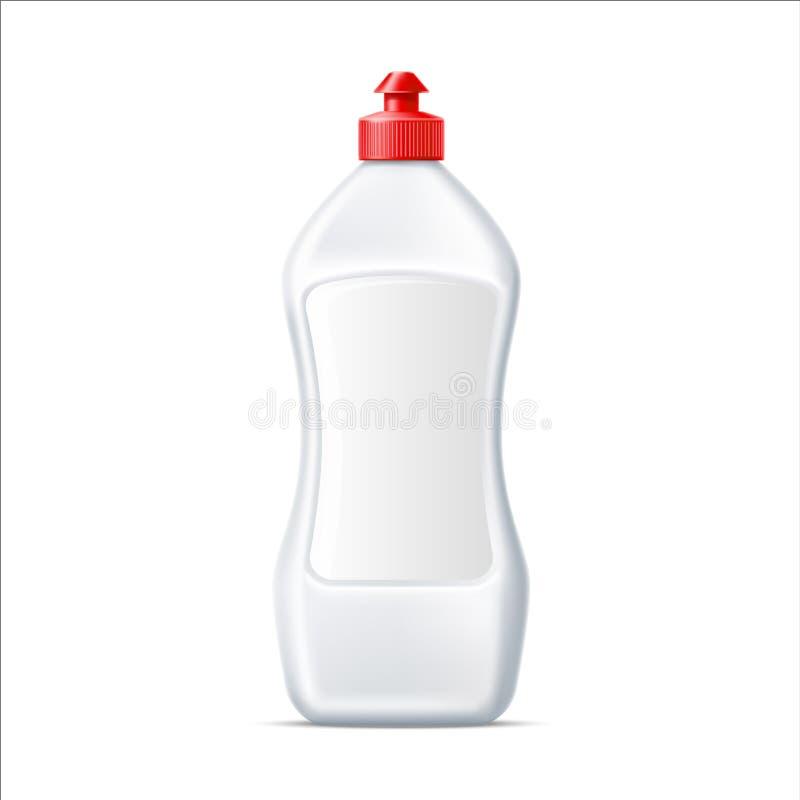 Plat de blanc de vecteur lavant la maquette détersive de bouteille illustration stock