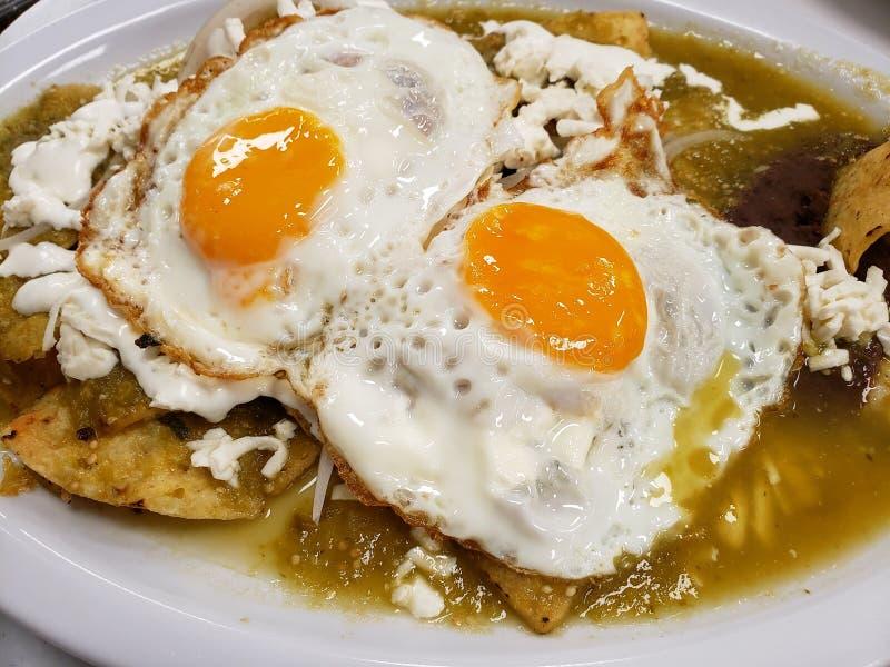 plat de chilaquiles avec l'oeuf au plat pour le déjeuner, nourriture mexicaine traditionnelle photo libre de droits