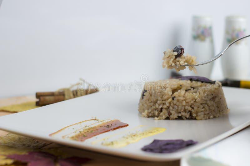 Plat de Congri de cuisine nationale cubaine Congri, riz avec des haricots, un plat typique de nourriture cubaine Plat simple mais images stock
